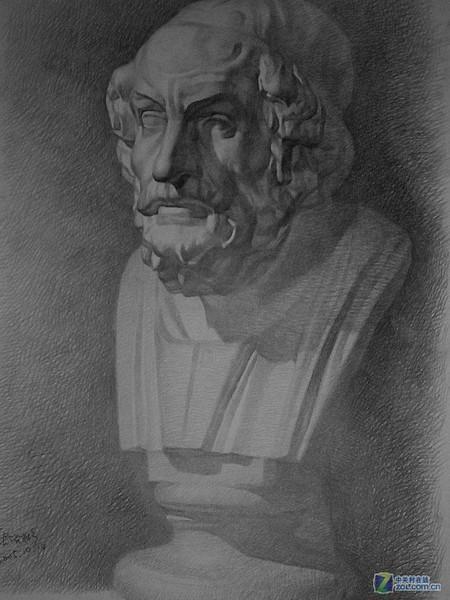 石膏素描荷马 绘画和PS