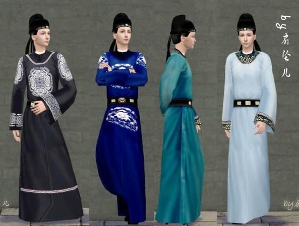 唐朝男式发型加衣服